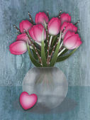Tulip vase with loveheart — Stock Photo