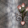 Stock Photo: Grunge background with retro style tulips