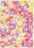 Whimsical multicolored tulips — Stock Photo