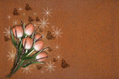 Six brown tulips with rust background — Stock Photo