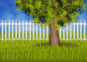 Green summergarden with fence and tree — Stock Photo