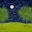Summernight moonlight — Stock Photo