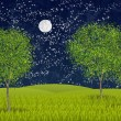 Stock Photo: Summernight moonlight