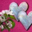 Two shiny heart with appleblossoms - Stock Photo
