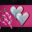 Valentine card with bleeding heart flowers - Stock Photo