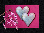 Valentine card with bleeding heart flowers — Stock Photo