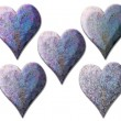 5 textured isolated purple heart - Stock Photo