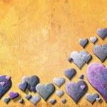 valentinecard giallo con cuore viola — Foto Stock