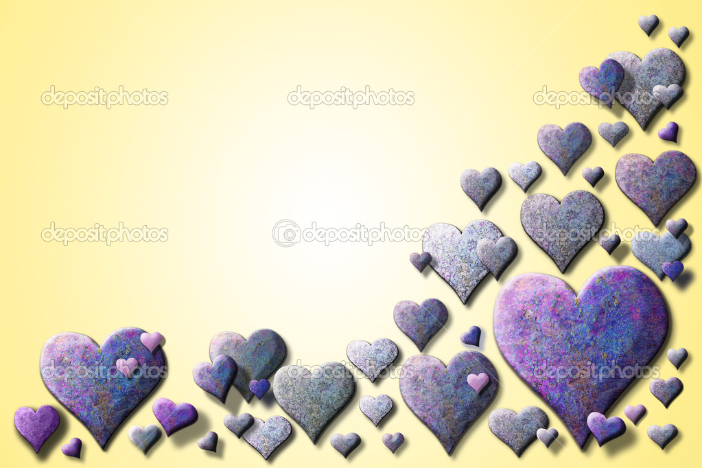 A lot of textured purple hearts on a yellow background — ストック写真 #8613424
