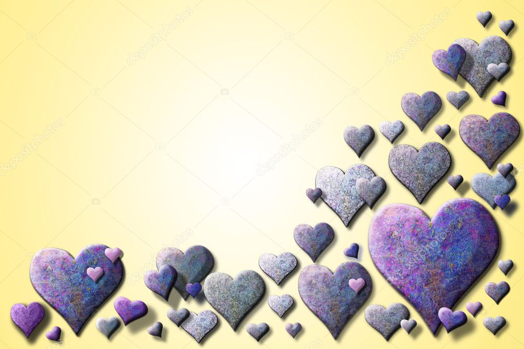 A lot of textured purple hearts on a yellow background — Stockfoto #8613424