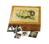 Old isolated wooden box with photos — Stock Photo