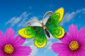 Butterfly and flowers — Stock Photo