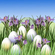 Easter egg and crocus - Stock Photo