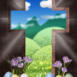 Resurrection cross  our way to heaven - Stock Photo
