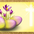 Crocus and egg with cross - Stock Photo