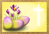 Crocus and egg with cross — Stock Photo