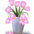 Pink tulips in a flower vase — Stock Photo