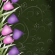 Stock Photo: Tulip border green background with swirls