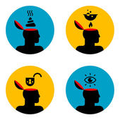 Icons of head — Stock Vector