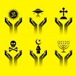 Hands with religion symbols — Stock Vector