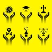 Händer med religion symboler — Stockvektor