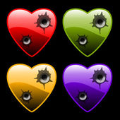 Hearts with bullet holes — Stock Vector