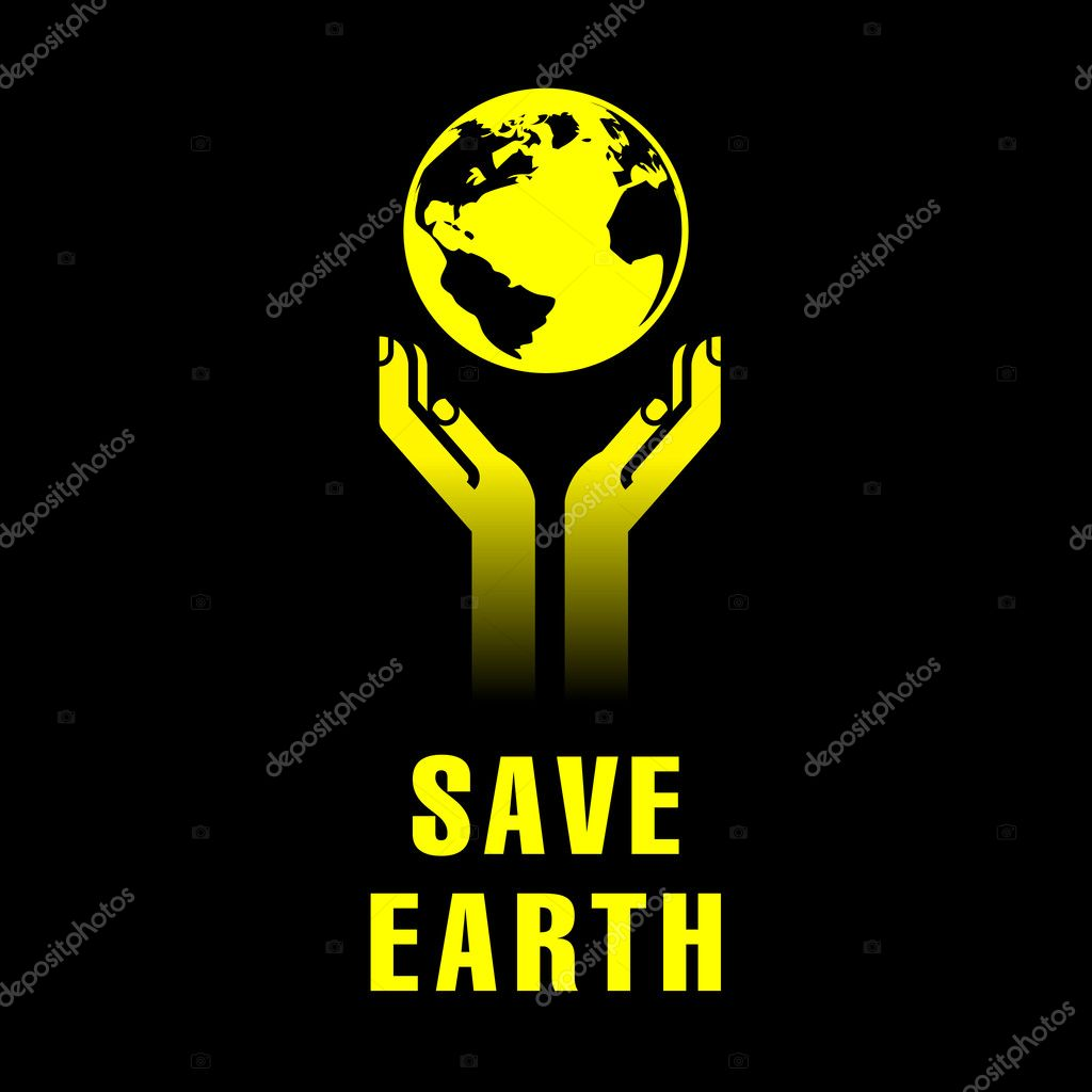 Earth in human hands on black — Stock Vector #9057247