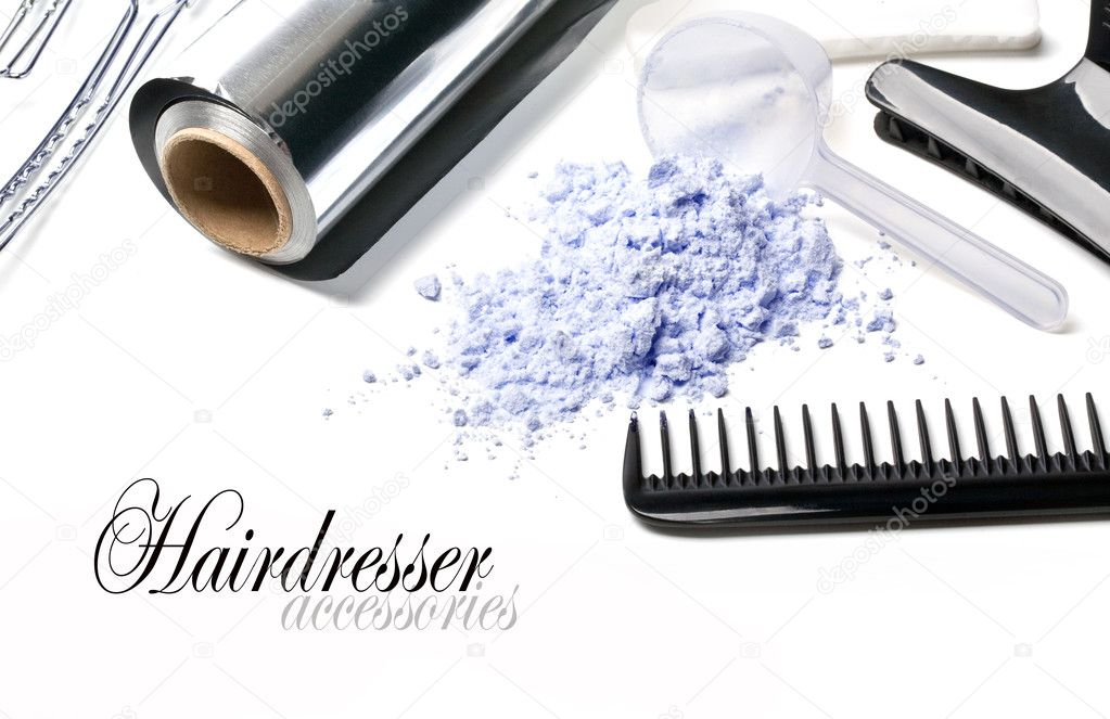Barber Accessories for painting hair on a white background — Stock Photo #10496475