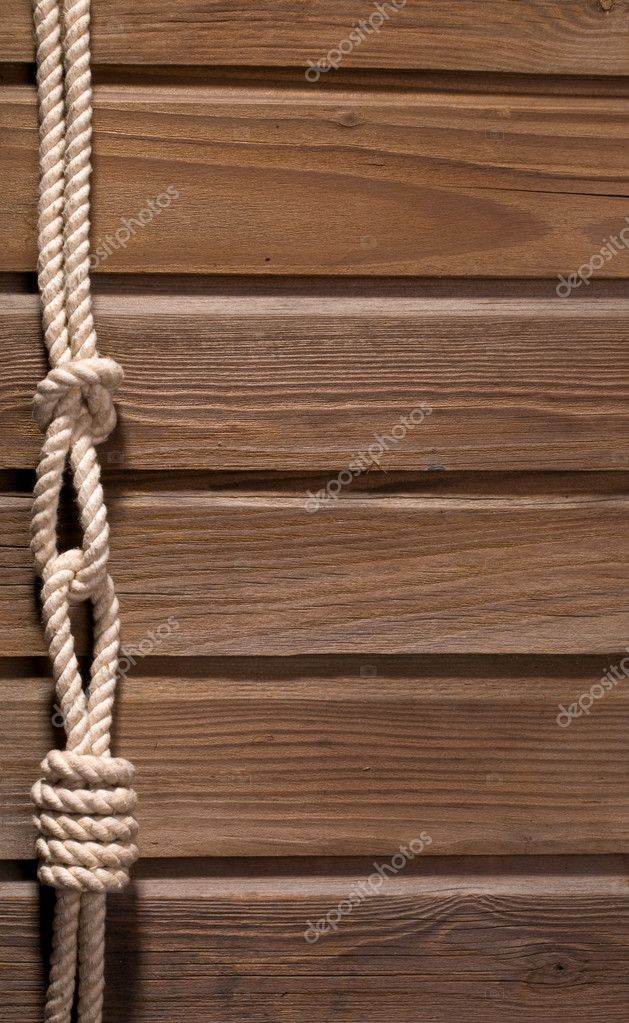 Image of old texture of wooden boards with ship rope. — Stock Photo #9089061