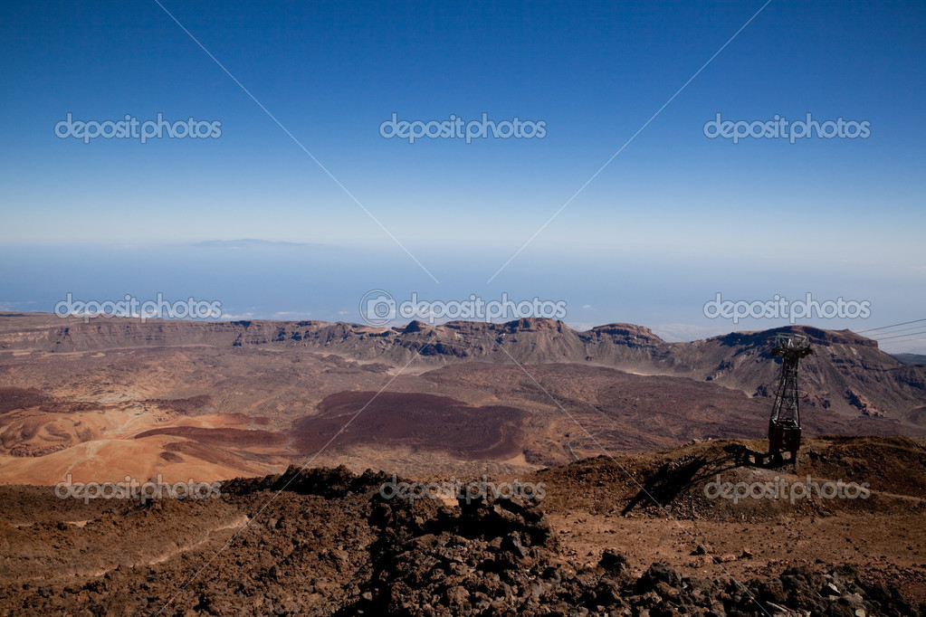 View from top cable car station of Mt Teide to the southern slopes and crater rim, showing lava flows and debris — Stock Photo #9790793