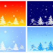 Fur-tree on winter landscape — Stock Vector