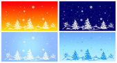 Fur-tree on winter landscape — Stock Vector