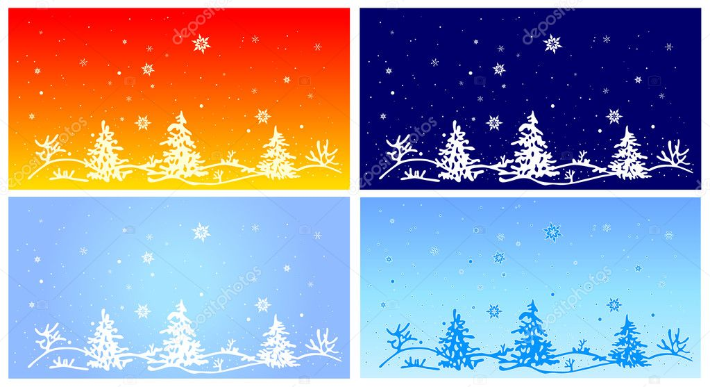 Fur-tree on winter landscape, vector illustration  Imagens vectoriais em stock #8043182