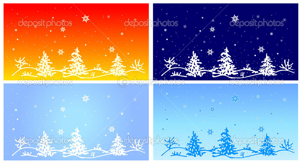 Fur-tree on winter landscape, vector illustration  Vektorgrafik #8043182