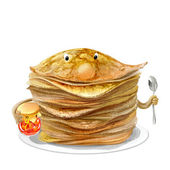 Funny pancakes for Holiday of Shrovetide — Stock Photo