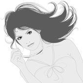Beautiful woman. Vector illustration. — Stock Vector