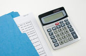 Colorful Folder and Calculator — Stock Photo