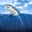 3d Shark Jumping out of water - Stock Photo