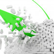 Green Arrow breaks a brick wall (Success Concept) — Stock Photo