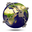 Earth Planet in silver chains closed to lock on white background — Stock Photo #10653514