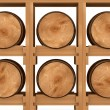 3d shelf with six wooden barrels on white background — Stock Photo #10653605