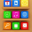 Smart Phone Application Icons on wooden shelf — Foto de Stock