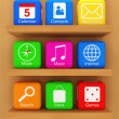 Smart Phone Application Icons on wooden shelf — Stock Photo