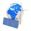 Miniature Globe with Windmill and Solar Panels on white background — Stock Photo #10655170