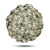 Abstract Sphere from Dollars on white background — Stock Photo