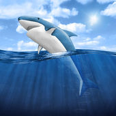 3d Shark Jumping out of water — Foto Stock