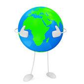 Earth globe personage geïsoleerd op witte achtergrond — Stockfoto