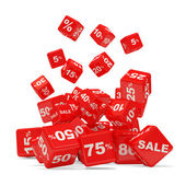 Discount Cube Falling on white background (Sale Concept) — Stock Photo