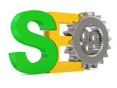 SEO - Search Engine Optimization Symbol with Metallic Gears on white background — Stock Photo