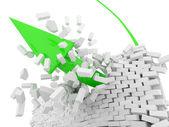 Green Arrow breaks a brick wall (Success Concept) — Stock Photo